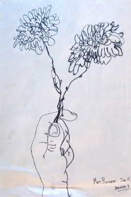 Contour Hand with flowers