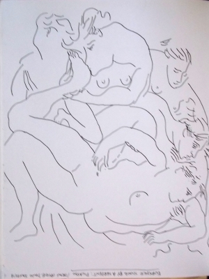 picasso repro drawn upside down