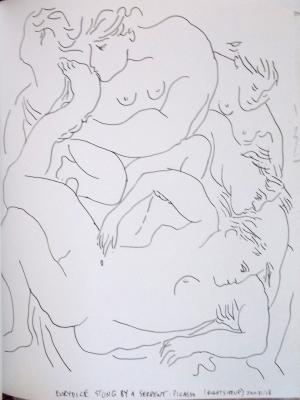 Picasso repro drawn right sid eup